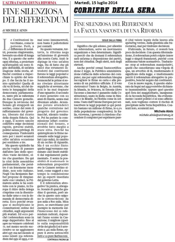 2014 07 15 Corsera La fine silenziosa del referendum (Ainis)