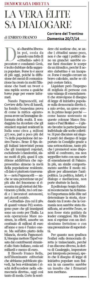 2014 07 20 CdT La vera elite sa dialogare (Franco)