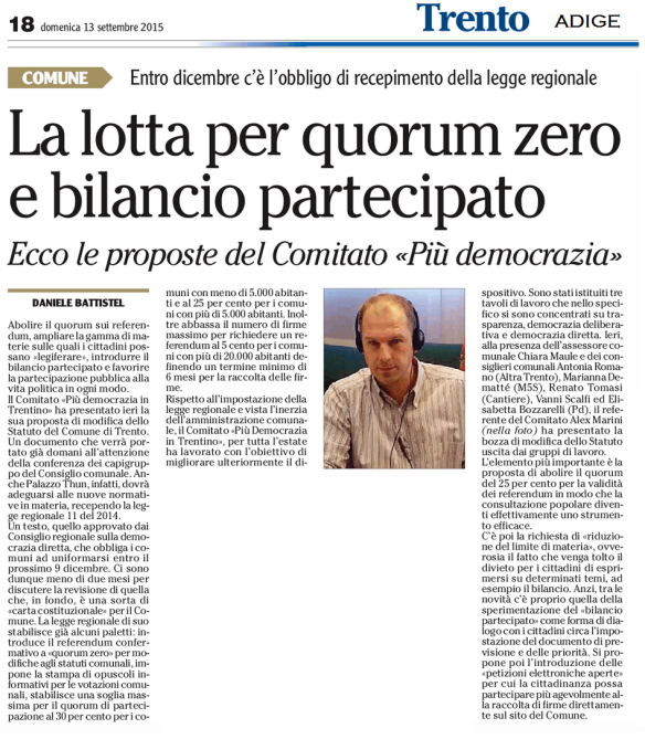 20150913 Adige Più Democrazia, Q0 e bilancio partecipato
