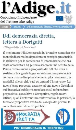 ddl democrazia diretta lettera a Dorigatti