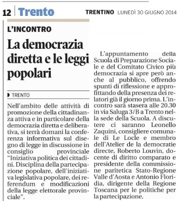democrazia diretta e leggi popolari