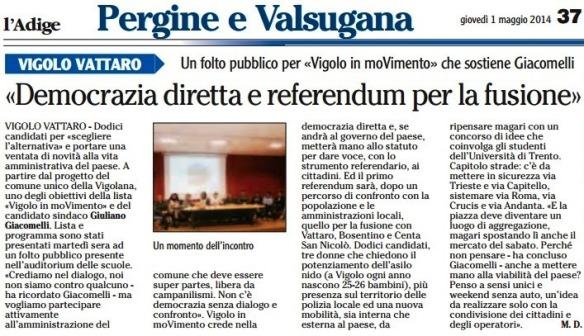 democrazia diretta e referendum per la fusione