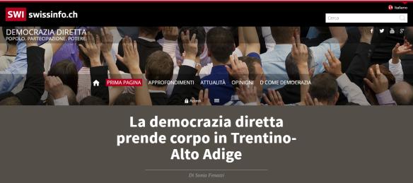la democrazia diretta in Trentino Alto Adige