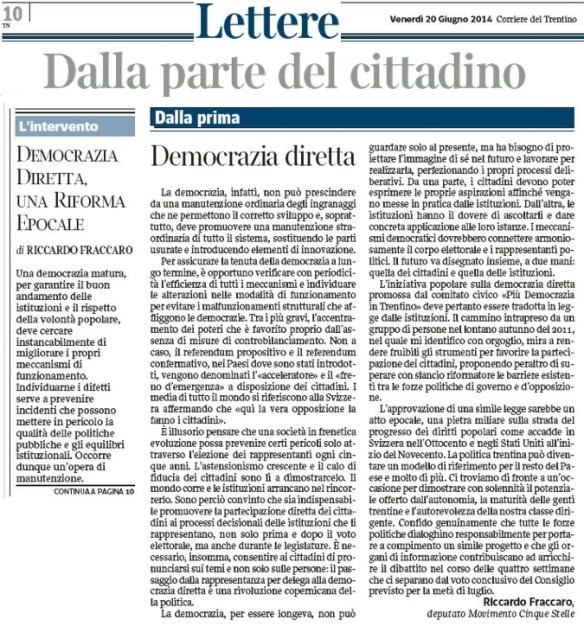 lettera corriere_Fraccaro M5S