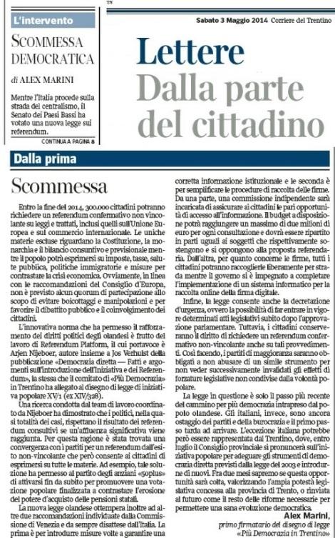 Scommessa democratica_Corriere del Trentino