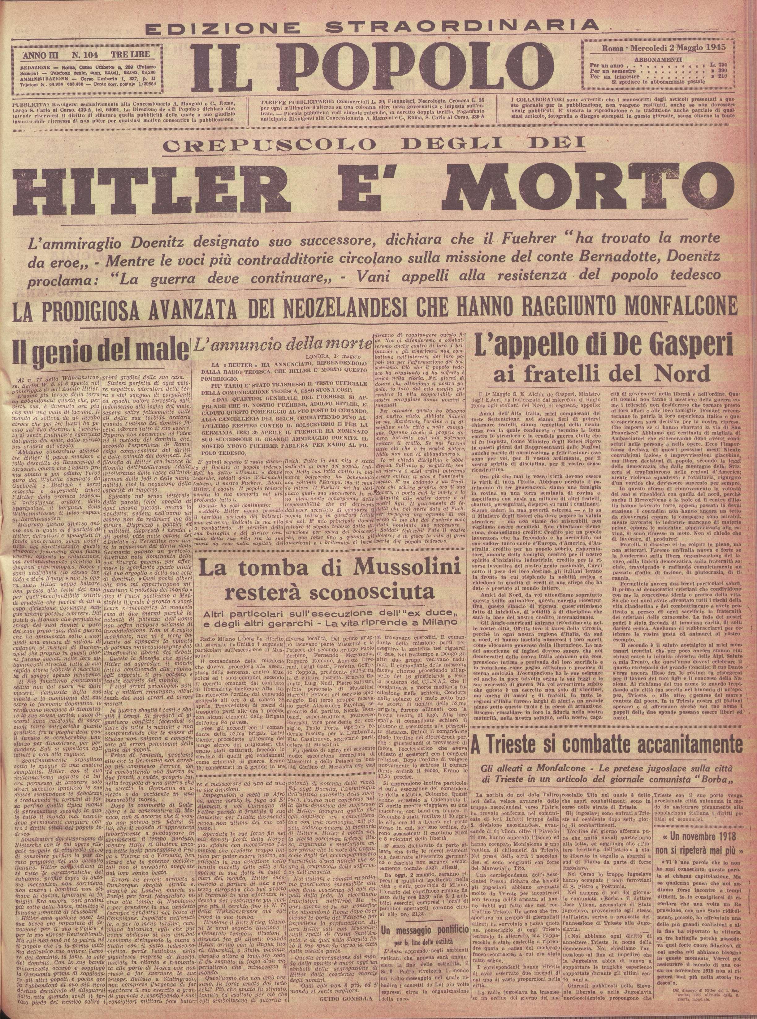 19450502_Il Popolo_appello De Gasperi fratelli del Nord