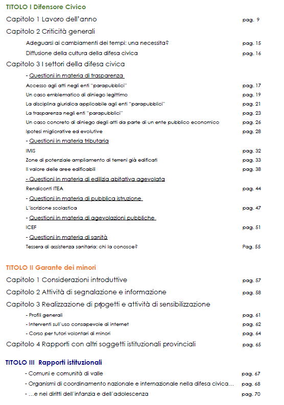 indice relazione 2015 difensore civico